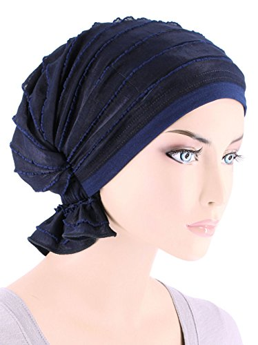Abbey Cap Women's Chemo Hat Beanie Scarf Turban Headwear for Cancer Ruffle Navy Blue
