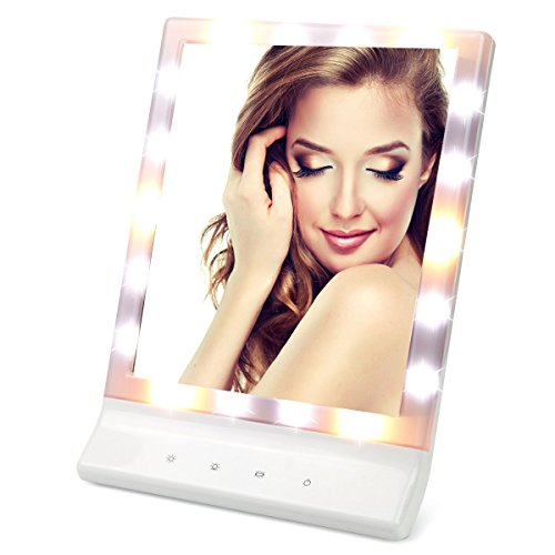 Leju Hollywood Lighted Vanity Mirror With 3 Light Settings  Table Or Wall Makeup Mirror With Removable 10X Magnifying Spot Makeup Mirror