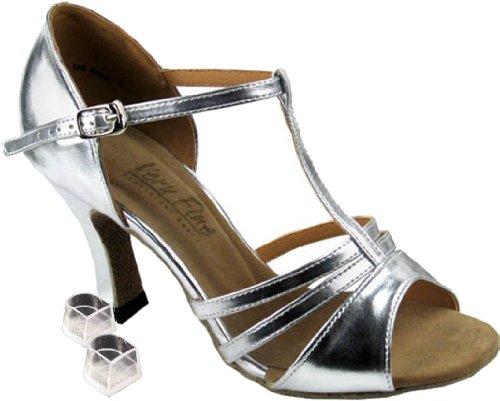 Very Fine Women's Salsa Ballroom Tango Latin Dance Shoes Style 1683 Bundle with Plastic Dance Shoe Heel Protectors, Silver Leather 7 M US Heel 2.5 Inch - Womens Line Dancing Shoes