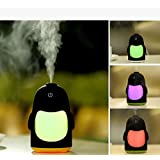 DOXUNGO Penguin night light humidifier, silence aromatherapy humidifier, car humidifie,Mini Portable 7 Color LED Light Cool Mist Humidifier with Timed auto shutdown for Office Home(yellow)