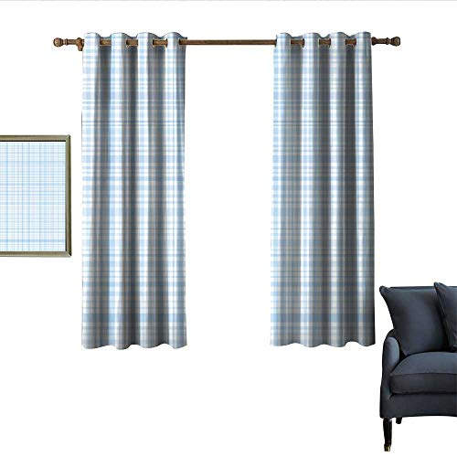 (longbuyer Seafoam Thermal Insulated Drapes for Kitchen/Bedroom Plaid Quilt Pattern with Squares and Lines Abstract Traditional Arrangement Wear Rod 63