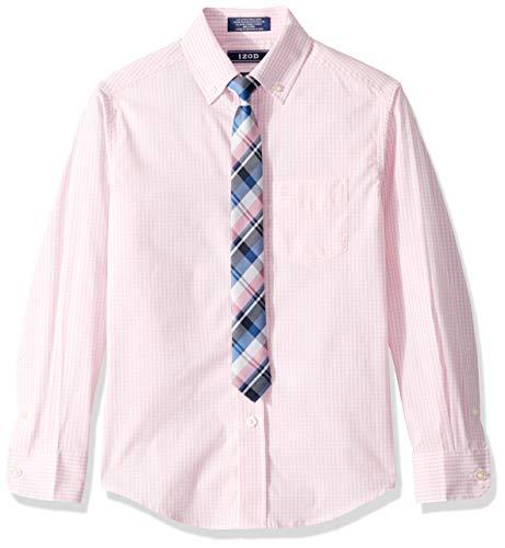 (IZOD Boys' Big Long Sleeve Dress Shirt with Tie, Light Pink, 8 )