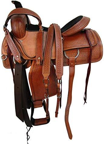41fATaSTWlL. AC  - Comfy Trail Saddle Pleasure Horse TACK Hand Tooled Leather Roping Roper 15 16 17