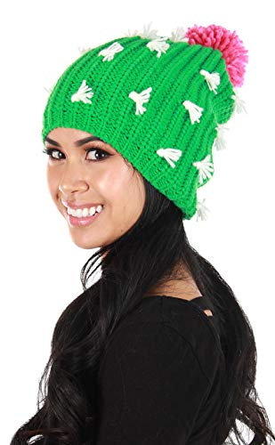 elope Cactus Knit Slouch Beanie Green