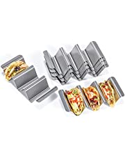 U-Taste Taco Holder Stand Set, 18/8 Stainless Steel Taco Shell Tortilla Rack Tray Plates with Handle (Set of 6)