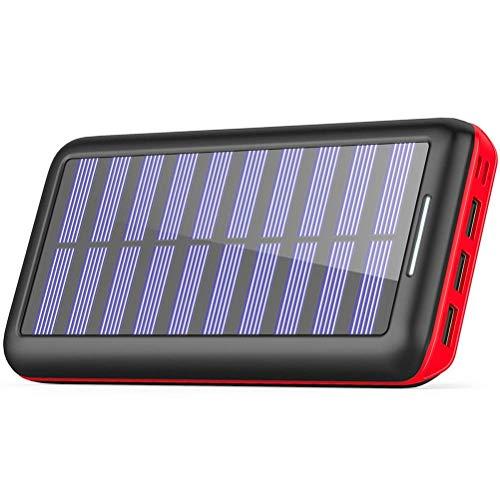 KEDRON Externer Akku 24000mAh Solar Powerbank, Solar Ladegerät mit 3 Ausgänge...