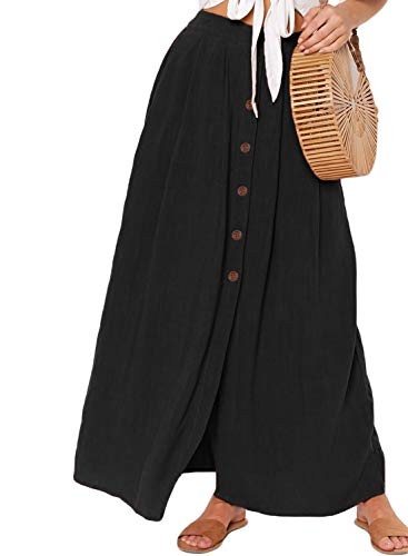 Asvivid Womens Casual Solid Button Front High Waist Summer Ladies A-Line Long Maxi Skirt with Pocket S Black