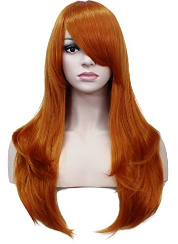 Deifor 23 inch Long Straight Big Wave Heat Resistant Synthetic Hair Cosplay Wigs (2735# (Long Orange Wig)