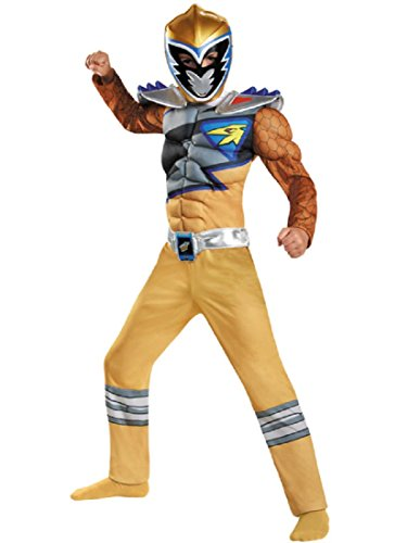 Disguise Gold Ranger Dino Charge Classic Muscle Costume, Small -