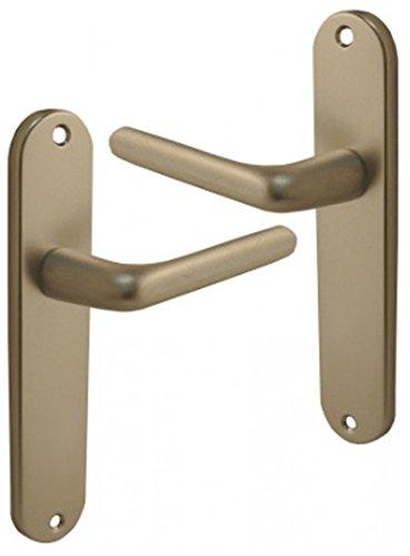 COURCHEVEL Poign/ée de porte int/érieure design en Aluminium anodis/é argent F1 sur plaque BdC entraxe 165 mm