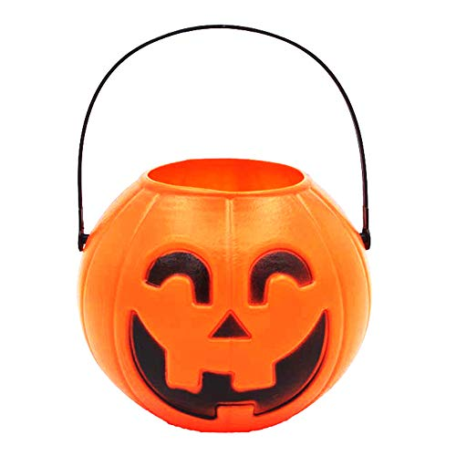 bromrefulgenc Pumpkin Candy Bucket,Pumpkin Candy Holder Trick-or-Treat Bucket Basket Pail Halloween Candy Organization Suppiler L