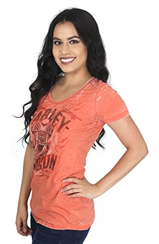 Harley-Davidson Womens Raging Chrome Motorcycle Burnout Orange Shirt (XXL) - Ladies Harley Davidson