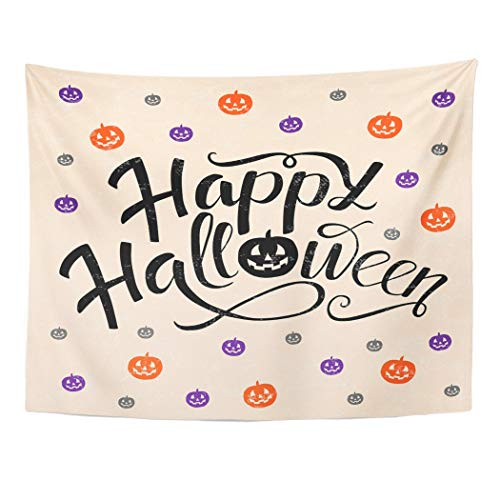 Tarolo Decor Wall Tapestry Happy Halloween Lettering Pumpkins in Orange Violet and Gray Colors Trick Treat for Party Magazines 60 x 50 Inches Wall Hanging Picnic for Bedroom Living Room -