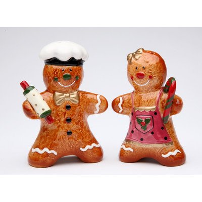 Cosmos Gifts Gingerbread Couple Salt and Pepper Set,  3-3/8-Inch (Set Mug Gingerbread)