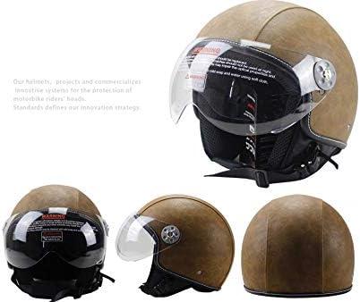 Casque Cuir Casque ouvert moiti/é moiti/é Vintage casques moto motard Croiseur Scooter Tourn/ée Casque M, Noir