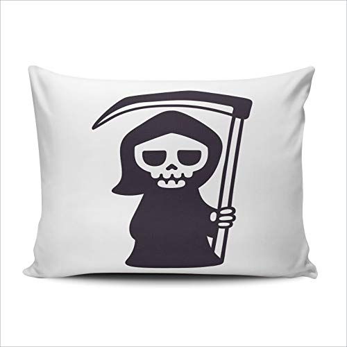 Fanaing Bedroom Custom Decor Cute Death with Scythe Isolated Black and White Drawing Pillowcase Soft Zippered Throw Pillow Cover Cushion Case One Sided Printed Boudoir 12x16 -