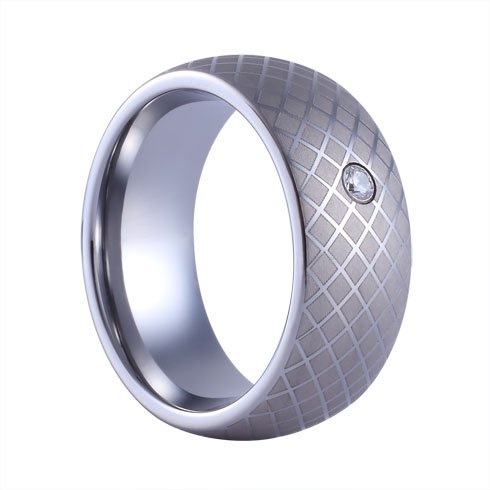 three-keys-jewelry-8mm-tungsten-ring-wedding-engagement-band-silver-dome-matte-frost-twill-cz-inlay