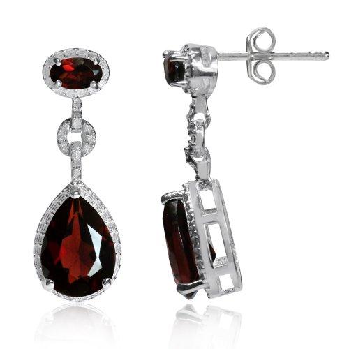 (4.54ct. Garnet White Gold Plated 925 Sterling Silver Drop Dangle Earrings)