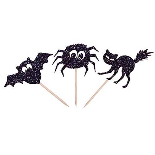 Blue Stones glitter Bat, Spider, Black Cat Halloween cupcake toppers wedding birthday party decoration doughnut food treat fruit picks ()