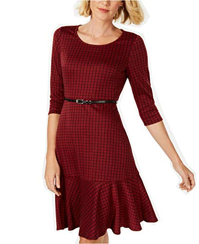 Belted Ponte Knit Dress - NY Collection Women's Petite Ponte Knit Belted Plaid Dress (Wine Check, P/X-Large)