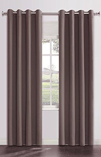 Onlyyou Window Grommet Thermal Blackout Curtains Drapes, Room Curtain Panels, 1 Pair, 52 x 84 Inch, Dark Brown Grey