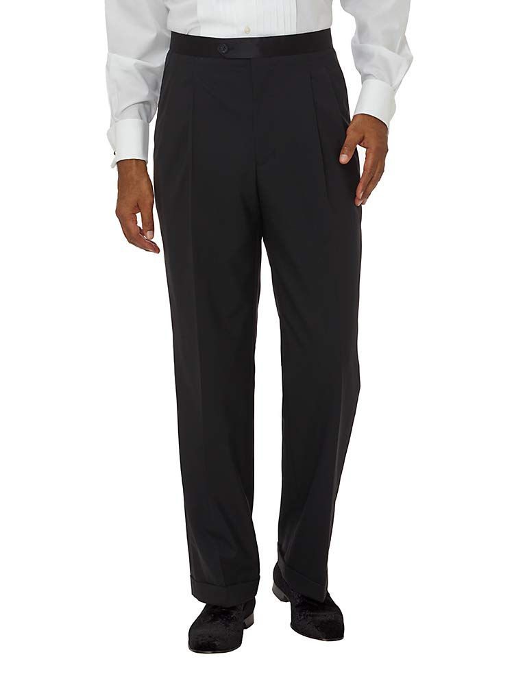 Paul Fredrick Men's Super 100s Tuxedo Pant Black Solid 48