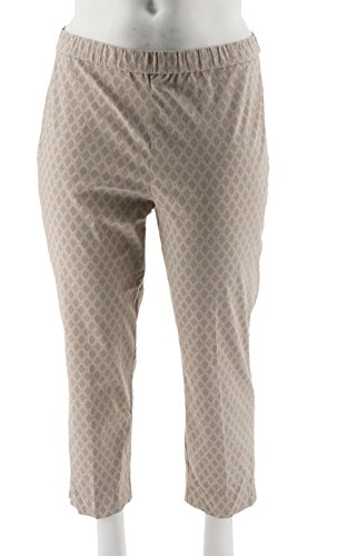 Susan Graver Printed Stretch Woven Pull-On Crop Pants A288508, Dark Wheat, 18W
