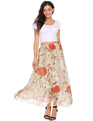 Maxi Pleated Floral Chiffon Skirt, Women
