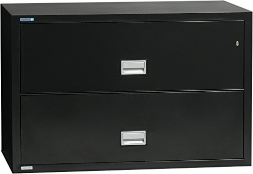 (Phoenix Lateral 38 inch 2-Drawer Fireproof File Cabinet, Black)