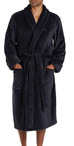 Tommy Bahama Men's Soft Plush Robe - Small / Medium - Black (Male Robes)