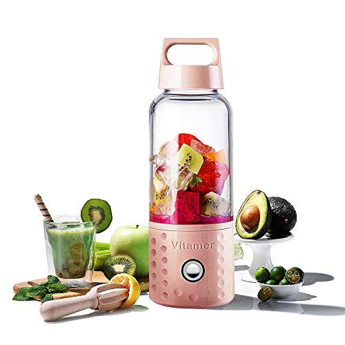 TTLIFE Personal Blender Portable Blender Shakes and Smoothies, USB Rechargeable Smoothie Blender On The Go, Battery Smoothie Blender Cup Gifts For Women Pink (FDA BPA Free)