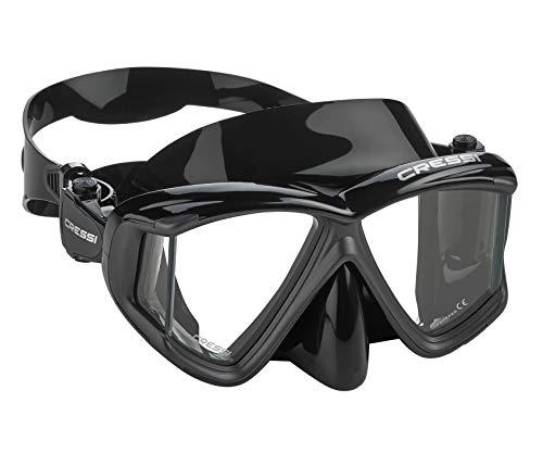 Cressi P-DS465050 Italian Designed Liberty Quattro Panoramic View Tempered Glass Lens Premium Scuba Snorkeling Mask, All Black Metallic
