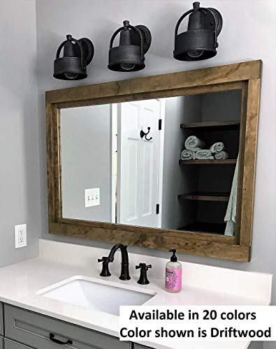 Mirror Vanity Mahogany (Farmhouse Large Framed Mirror Available in 5 Sizes and 20 Stain Colors: Shown in Driftwood- Large Wall Mirror – Vainty Mirror - Bathroom Mirror - Rustic Decor - Bathroom Vanity Mirror)