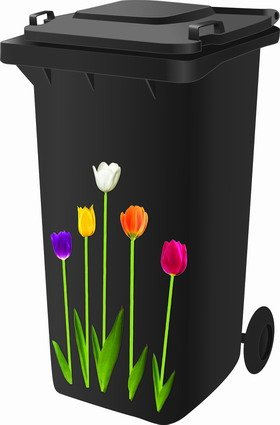 Classic Sign & Design Wheelie Bin Stickers - Tulips - FREE POSTAGE