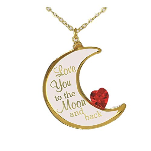 Roy Rose Jewelry Half Moon Glass Pendant Necklace Love You to The Moon and Back with 18