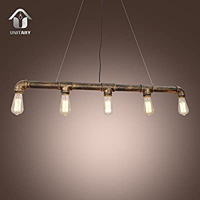 UNITARY BRAND Vintage Metal Water Pipe Pendant Light Max 200W With 5 Lights Painted Finish