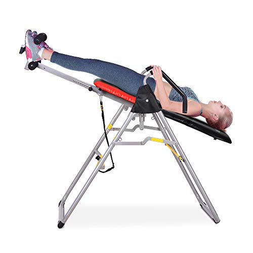 OneTwoFit Heavy Duty Folding Inversion Therapy Table Stretching Machine with Adjustable Height for Back Pain Relief OT079
