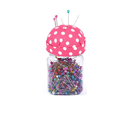 Chris.W Plastic Storage Jar for 500 Ball Head Quilting Pins with Pin Cushion Lid for Easy Sewing - Pink