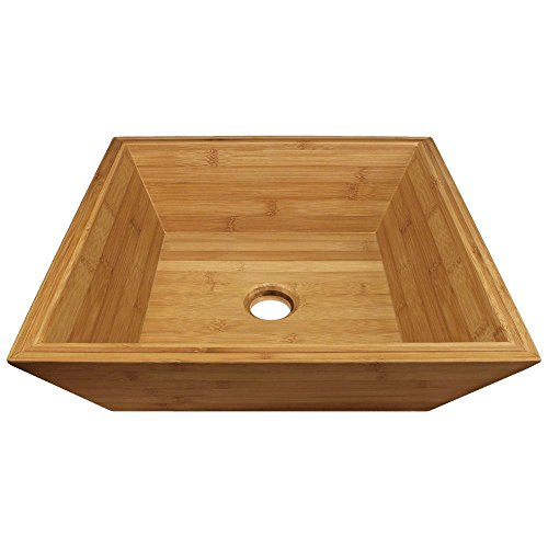 MR Direct 891 Bamboo Above counter Square Bathroom Sink, 16.13 x 16.13 x 5.13 inches, Wooden