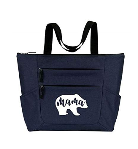 Mama Bear Large Premium Zippered Tote Bag with Front and Side Pockets - Perfect Gift for Women Who Have Everything