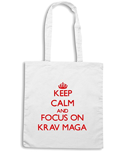 T-Shirtshock - Bolsa para la compra TAM0080 keep calm and focus on krav maga hoodie Blanco
