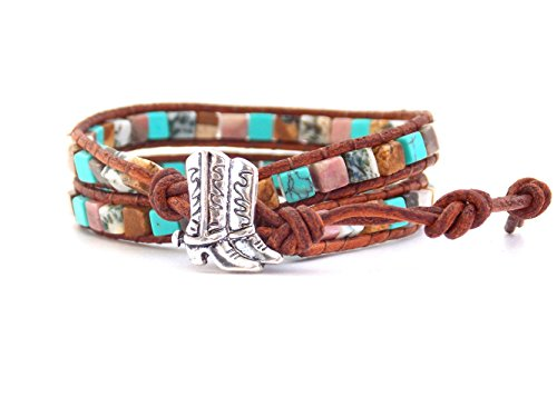 Equestrian Bracelet Cowgirl Boots Synthetic Turquoise Beaded Wrap
