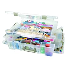 ArtBin 6982AB Super Satchel Deluxe Divided Lid/Divided Base, Translucent Clear