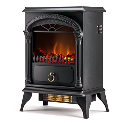Hamilton 22-inch Portable Free Standing 1500W Electric Fireplace Stove with Realistic Fire (Trim Less Electric Fireplace)
