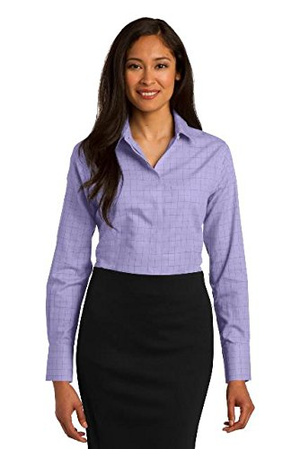 - Red House 174 Ladies Windowpane Plaid Non-Iron Shirt. RH71 Small Thistle Purple