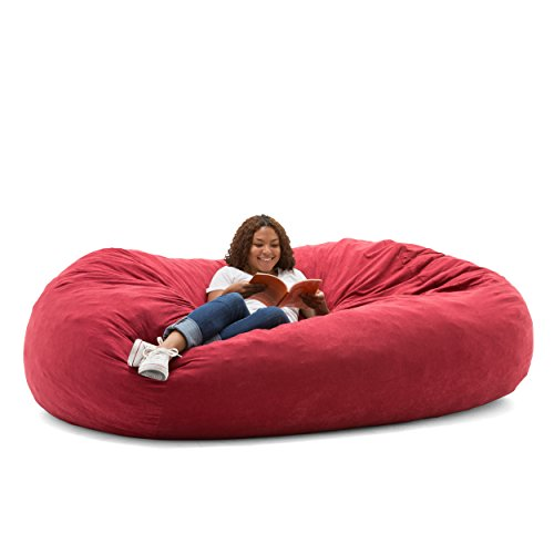 Big Joe XXL Fuf Foam Filled Bean Bag Chair, Comfort Suede, Sierra Red (For Chairs Online Sale)