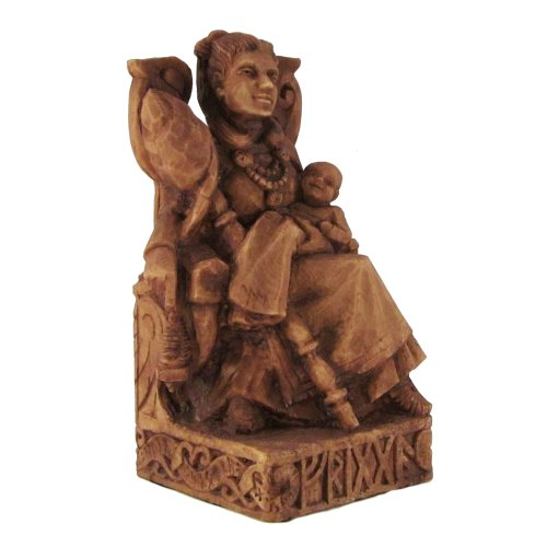 Seated Norse Goddess Frigga Statue Wood Finish from Dryad Design