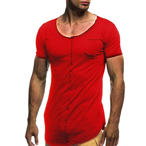 Paymenow Clearance Men Short Sleeve Tee, Fashion Solid Sports Pocket T Shirts Tops (Red, XXXL)