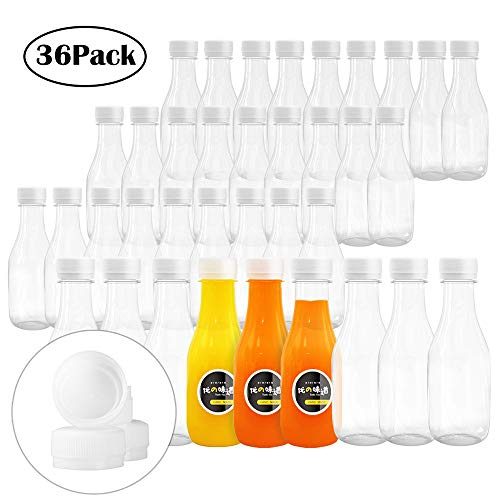 10 Oz Empty PET Plastic Juice Bottles 36 Pack Reusable Clear Disposable Bulk Drink Containers with White Tamper Evident Caps Great for Storing Homemade Juices, Milk, Water, Smoothies, Tea (Plastic Water Bottle Caps)