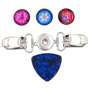 5 Piece Pink, Blue and Red Interchangeable Snap Button Cardigan Clip Set